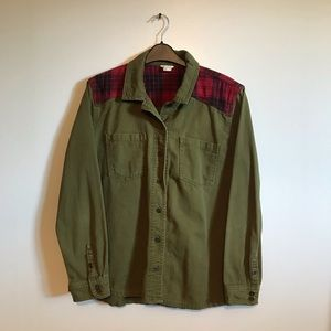 Army green button down with flannel shoulder